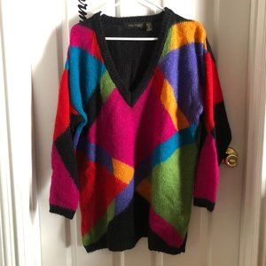 Vintage Colorful Mohair Sweater 90s